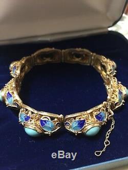 Vintage Chinese Gilt + 925 silver turquoise & enamel linked bracelet