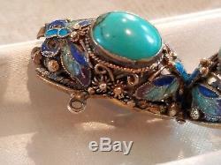 Vintage Chinese Gilt + 925 silver turquoise & enamel linked bracelet Mint