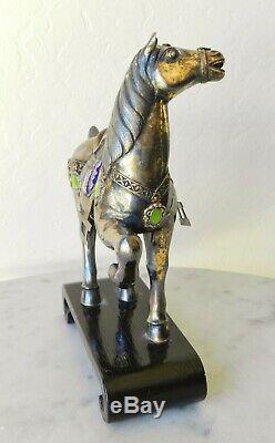 Vintage Chinese Gilt STERLING SILVER Cloisonne Horse Figurine Export Enamel