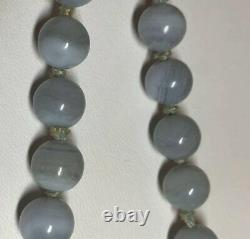 Vintage Chinese Gilt Silver Blue Lace Agate Beaded Necklace