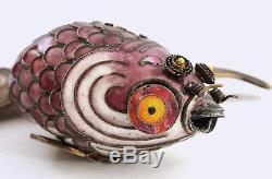 Vintage Chinese Gilt Silver Enamel Filigree Lavender Goldfish Koi Fish Carp