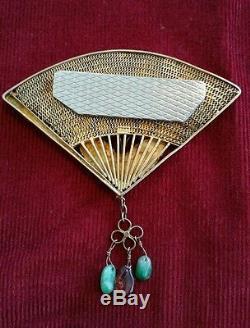 Vintage Chinese Gilt Silver Enamel JADITE ROSE QUARTZ BUTTERFLIES FAN Brooch -$