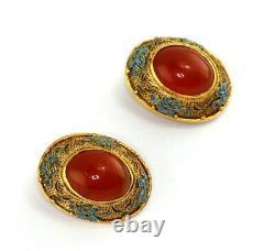 Vintage Chinese Gilt Silver Filigree Enamel Endless Knot Carnelian Clip Earring
