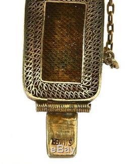 Vintage Chinese Gilt Silver Filigree Turquoise Pebble Bracelet Bangle Marked