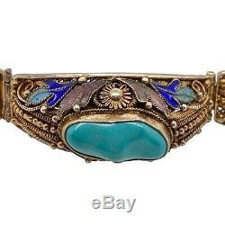 Vintage Chinese Gilt Silver Turquoise Enamel Link Bracelet