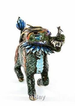 Vintage Chinese Gilt Solid Silver Enamel Qilin Dragon Head Beast 373 Gram