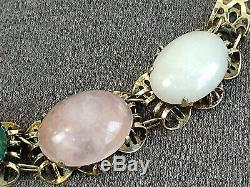 Vintage Chinese Gilt Sterling Silver Bracelet Jade Pink Quartz & Amber Cabochon