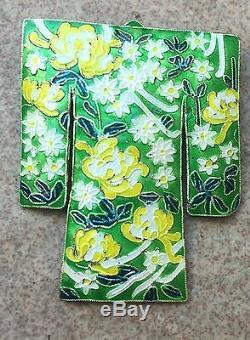 Vintage Chinese Gilt Sterling Silver Enamel Kimono Pin