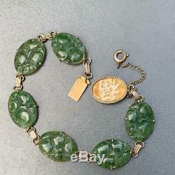 Vintage Chinese Gold Gilt Silver Carved Jade jadeite Bracelet Bangle