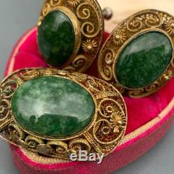 Vintage Chinese Gold Gilt Silver Filigree Moss Agate Earrings Brooch Set ASIS
