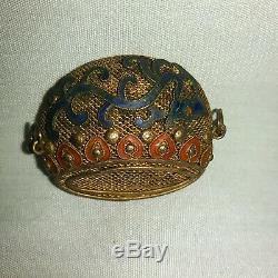 Vintage Chinese Gold Gilt Silver Mesh Brooch Pin Charm Blue Dragon Red Hearts