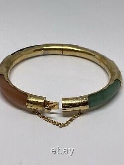 Vintage Chinese Gold On Silver Hinged Multi-gem Jade Jadeite Bangle Bracelet