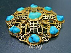 Vintage Chinese Gold On Silver Turquoise Brooch