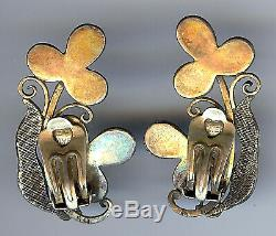 Vintage Chinese Gold Wash Filigree Silver Coral & Turquoise Clip Earrings