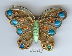 Vintage Chinese Gold Wash Silver Filigree Enamel Butterfly Pin Brooch