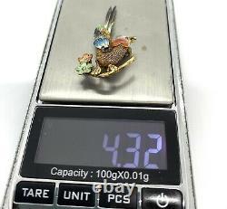 Vintage Chinese Gold Wosh Silver Filigree Enamel Bird Brooch 4.32 G