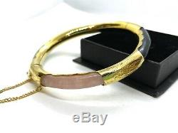 Vintage Chinese Gold on Sterling Silver Multicoloured Jade Bangle Bracelet