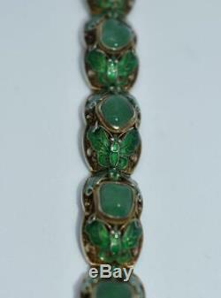 Vintage Chinese Green Jade Raw Stone Enameled Butterflies Gilt Silver Bracelet