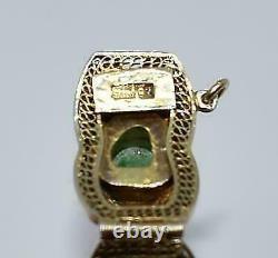Vintage Chinese Green Jade Raw Stone Enameled Butterflies Gilt Silver Bracelet