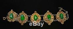 Vintage Chinese Prehnite (NOT JADE or JADEITE) Carved Bead Gilt Silver Bracelet
