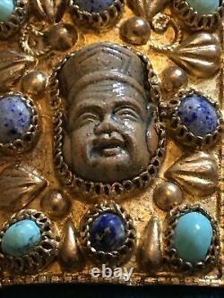 Vintage Chinese Revival Bracelet Turquiose & Lapis Stones. Silver Gilt