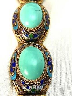 Vintage Chinese Silver Bracelet Gold Wash Natural Persian Turquoise & Enamel