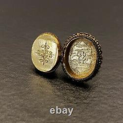 Vintage Chinese Silver Carved Tigers Eye Gilt Gold Wash Adjustable Poison Ring