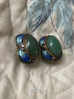Vintage Chinese Silver Enamel Jade Clip on Gold Tone Earrings
