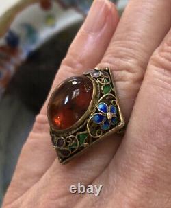 Vintage Chinese Silver Filigree Gilt Floral Enamel Amber Dome Adjustable Ring