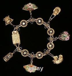 Vintage Chinese Silver, Gilded, Enamel, Cloisonne 3D Charm Bracelet