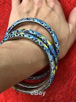 Vintage Chinese Silver Gilt Blue Green Cloisonne Enamel Bangles Bracelets