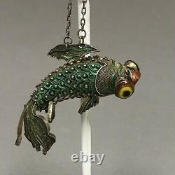 Vintage Chinese Silver Gilt Enamel Koi Fish Reticulated Pendant