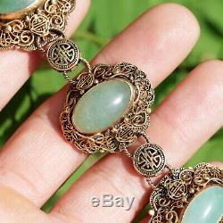 Vintage Chinese Silver Gilt Filigree Green Jade Bracelet 7.5