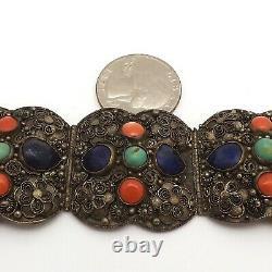 Vintage Chinese Silver Gilt Filigree Lapis Coral Turquoise Panel Link Bracelet