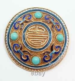 Vintage Chinese Silver Gilt Filigree Turquoise Enamel Long Life Brooch Pin