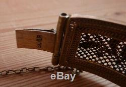 Vintage Chinese Silver Gilt Jade & Enamel Bracelet