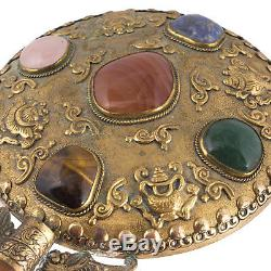 Vintage Chinese Silver Gilt Mirror With Agate Decoration