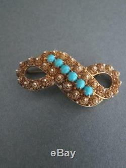 Vintage Chinese Silver Gilt Turquoise Filigree Brooch
