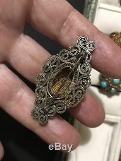 Vintage Chinese Silver Gilt Turquoise Filigree jewelry Set Set