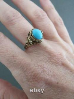 Vintage Chinese Silver Gilt Turquoise Ring