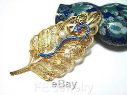 Vintage Chinese Silver Gilt Vermeil Filigree Enamel Dragon Pearl Leaf Brooch Pin