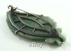 Vintage Chinese Silver & Green Jadite Jade Carved Chinese Boat Brooch or Pin