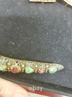 Vintage Chinese Sterling Silver Enamel Turquoise Coral Nail Guard Brooch