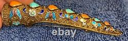 Vintage Chinese Sterling Silver Enamel Turquoise Coral Nail Guard Brooch 3.5