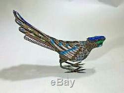 Vintage Chinese Sterling Silver Gilt Filigree Enamel Bird of ParadiseFigurine