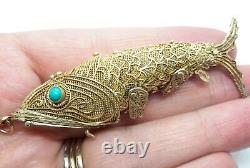 Vintage Chinese Sterling Silver Gold Plated Filigree Turquoise Koi FISH Pendant