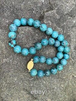 Vintage Chinese Turquoise Beaded Strand Necklace Gold Gilt Silver Clasp 18 Inch