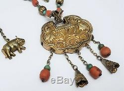 Vintage Chinese Turquoise Coral Silver & Gilt Metal Necklace w Lock Pendant