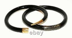 Vintage Chinese Yellow Gold & Silver set Black Coral Bangle Bracelets (HaL)#1