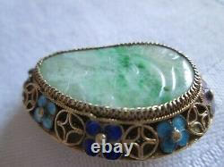 Vintage Chinese carved Jade enamel gold gilt silver brooch pin
